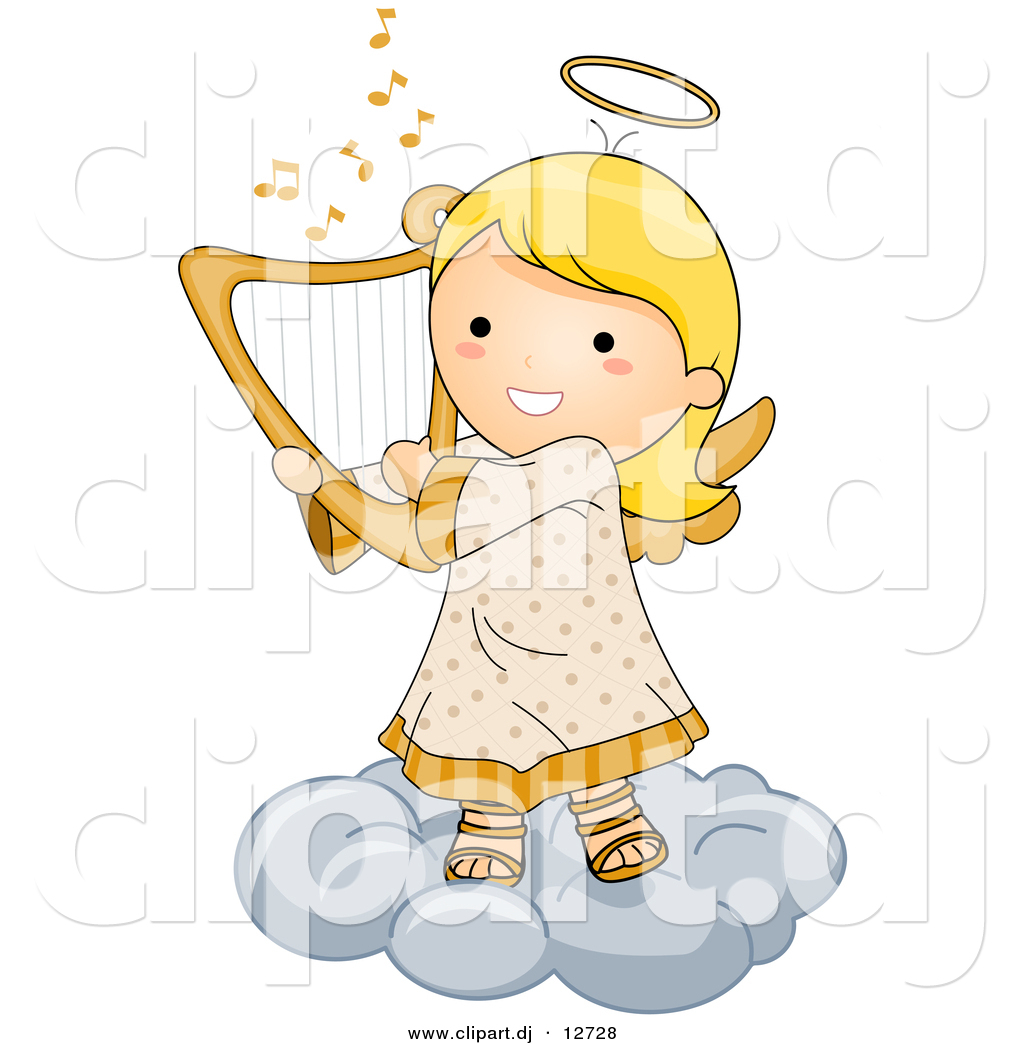 Vector Clipart of a Cartoon Angel Girl Playing Harp While.