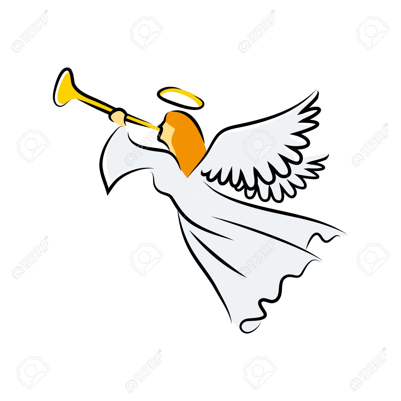 angel blowing the trumpet.