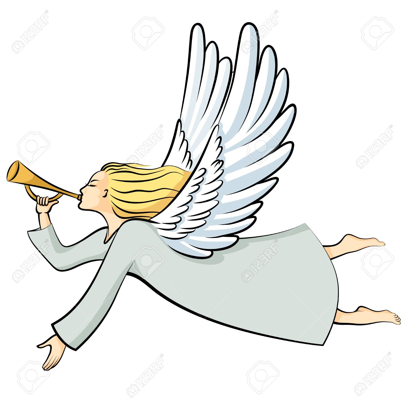 Vector illustrations of cartoon Christmas Angel Blowing a trumpet.