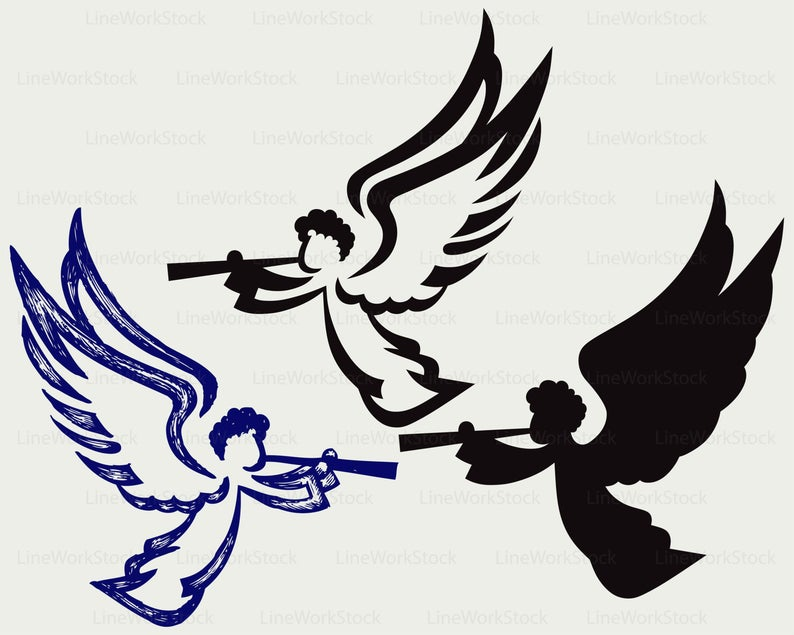 Angel with trumpet svg/clipart/angel svg/trumpet silhouette/angel cricut  cut files/angel clip art/digital download/designs/svg.