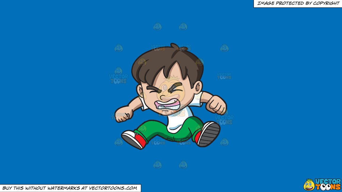 Clipart: An Angry Little Boy Jumping In Frustration on a Solid Spanish Blue  016Fb9 Background.