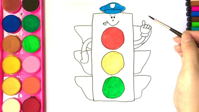 color pages ~ Cartoon Traffic Light And Lorry Color By.