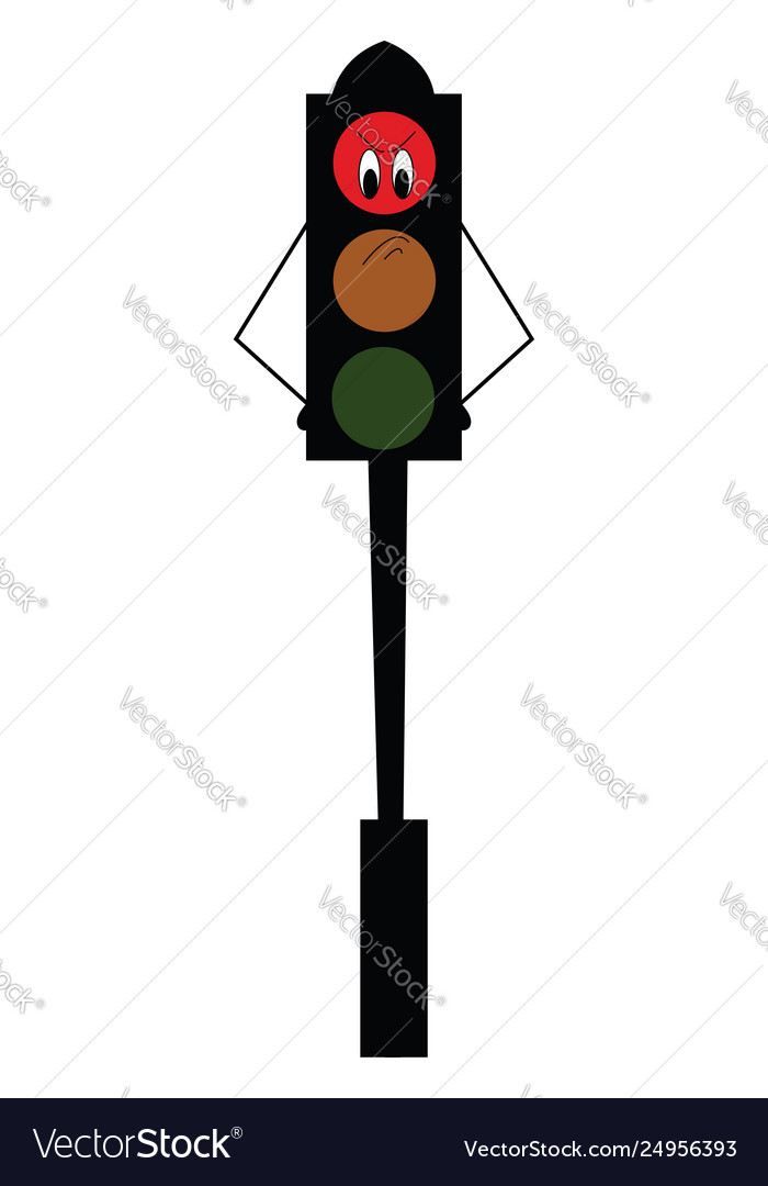An angry cartoon traffic red light mounted on a.