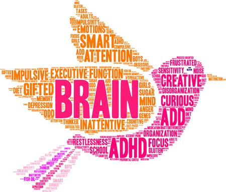 Brain ADHD word cloud on a white background.: Royalty.