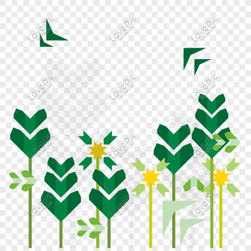 sosok geometris tumbuhan hijau ekuinoks gambar unduh gratis_.