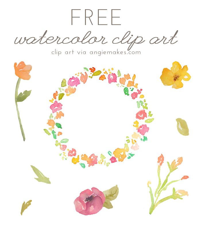 Free Watercolor Flower ClipArt.