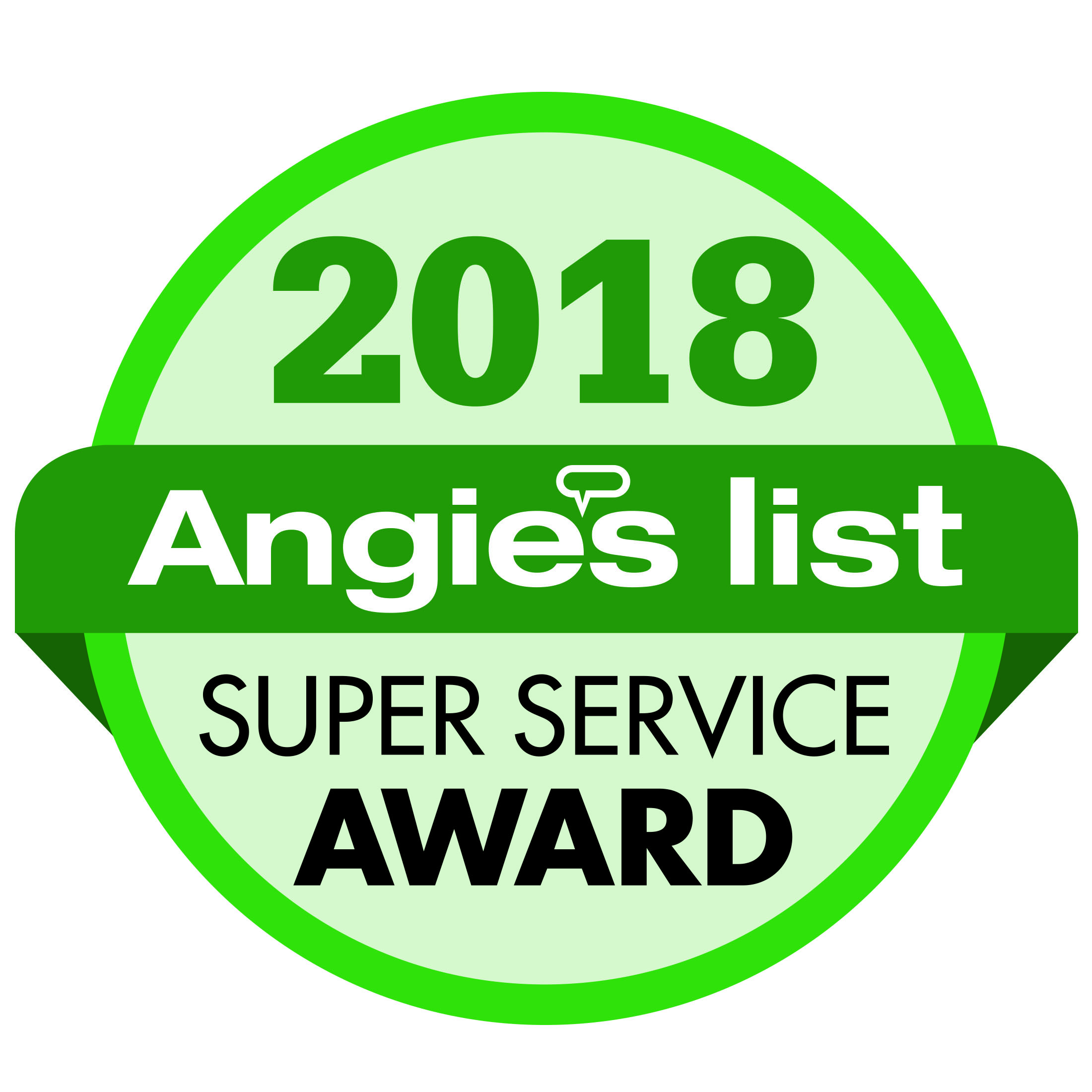 Angie's List Super Service Award Winner for 2018.