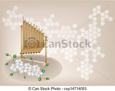 Clipart Vector of Musical Angklung and Moon Orchid on Brown.