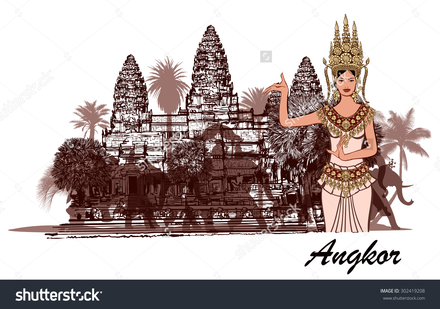 Angkor Wat Elephants Palm Trees Apsara Stock Vector 302419208.