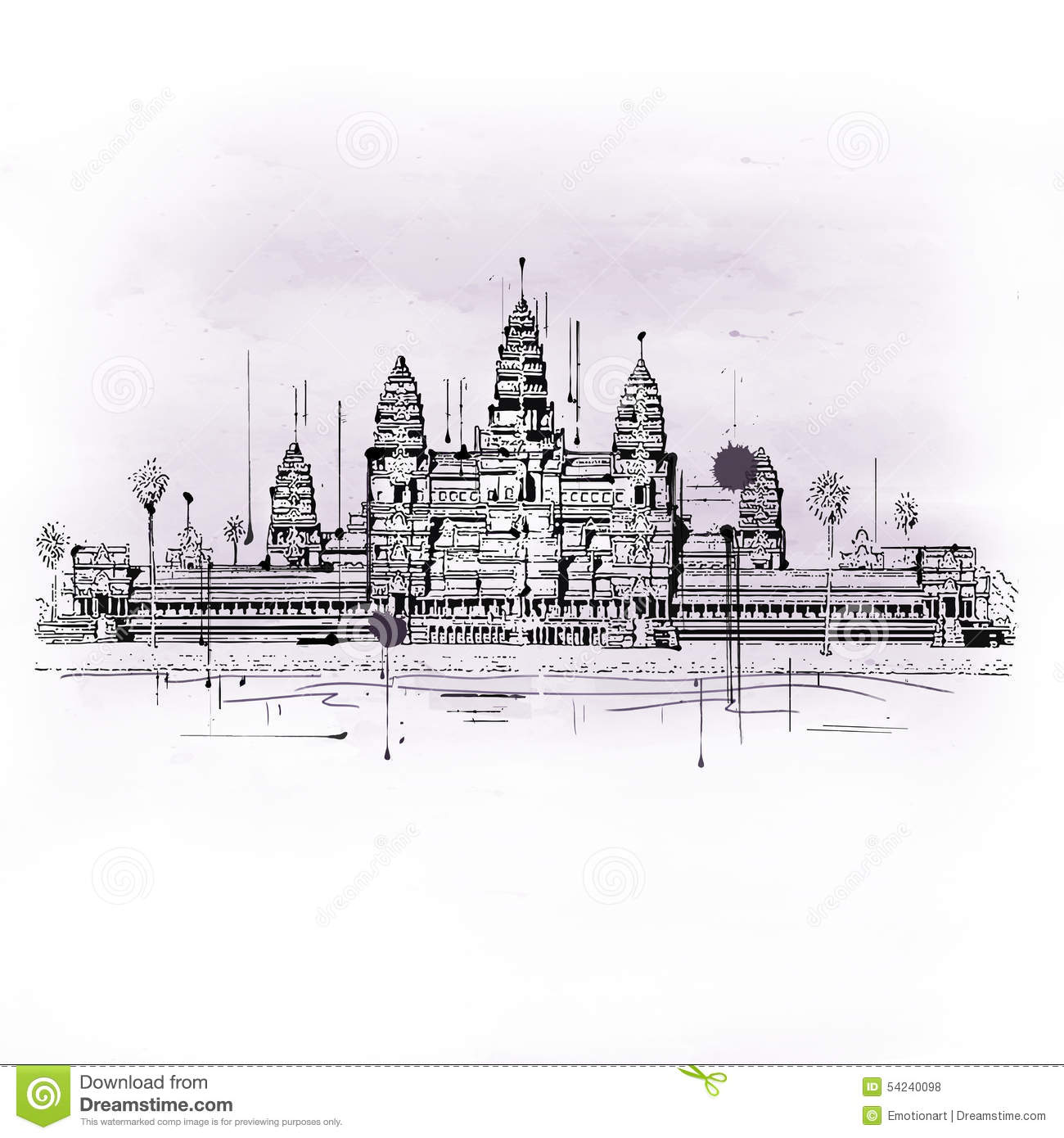 Angkor Stock Illustrations.