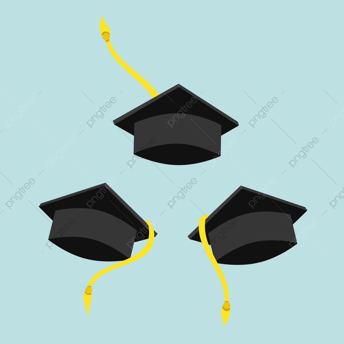 3 Sets Graduation Hats With Different Style And Angle.