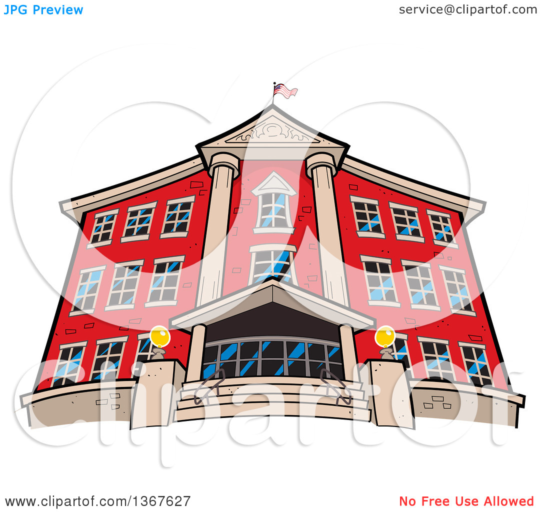 Clipart of a Low Angle View of the Front of a Red Brick School.