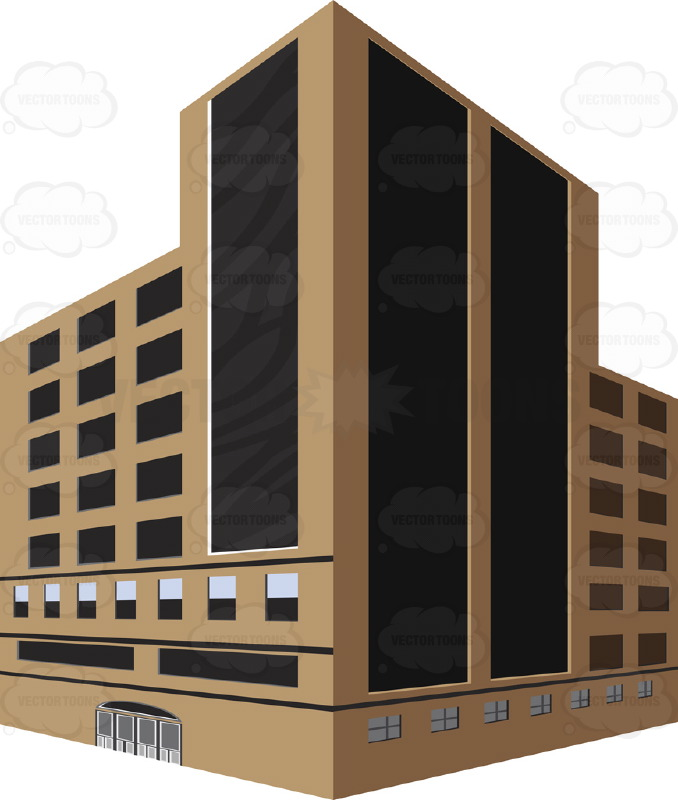 Brown, Tall Dark Glass City Building With Corner Angle Two.