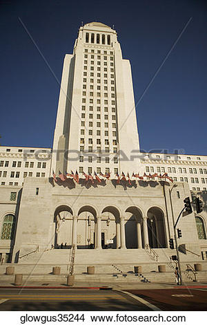 Stock Photo of Low angle view of a building, City Hall, Los.