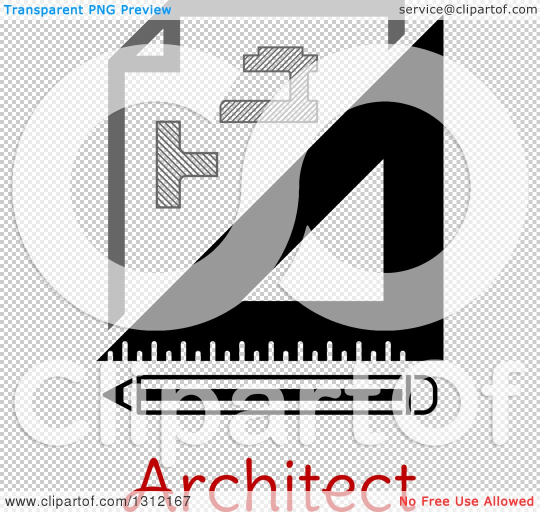 Clipart of a Building Blueprint Right Angle and Pencil over Text.