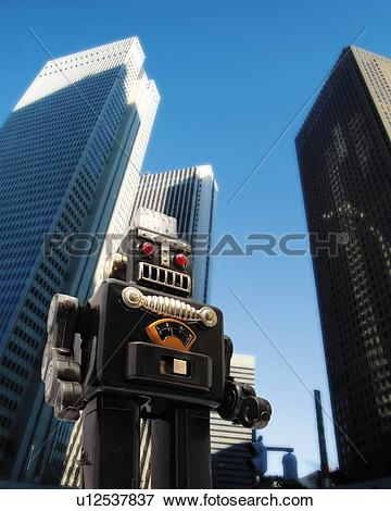 Stock Illustration of Toy Doll, Robot and High Building, Low Angle.