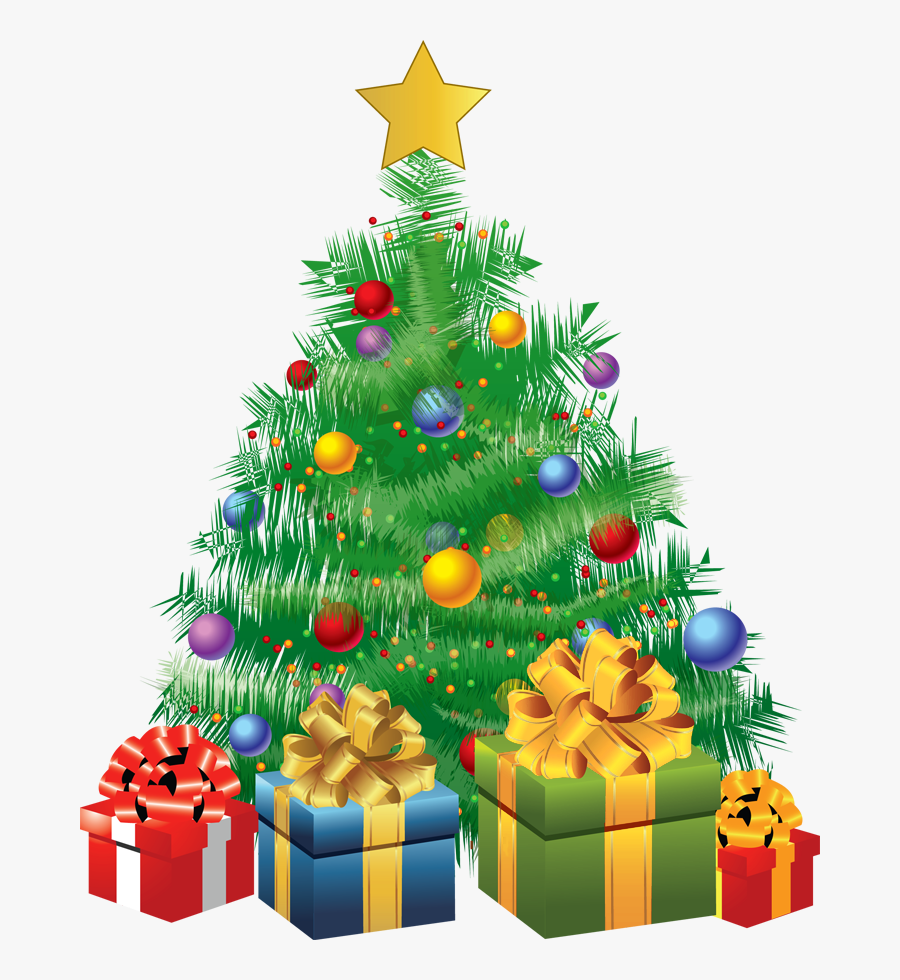 Transparent Christmas Green Tree With Gifts Png Picture.
