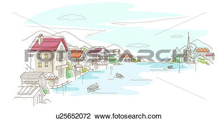 Clip Art of High angle view of buildings at the waterfront.