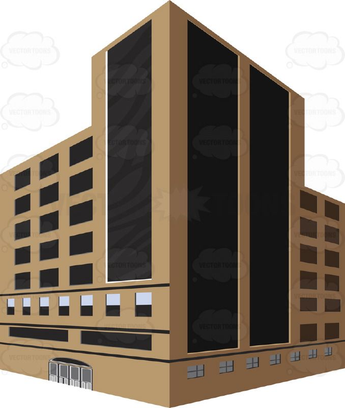 Brown Tall Dark Glass City Building With Corner Angle Two