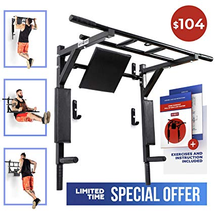 Wall Mounted Pull Up Bar and Dip Station with Vertical Knee Raise Station  Indoor Home Exercise Equipment for Men Woman and Kids Great for Workout and.