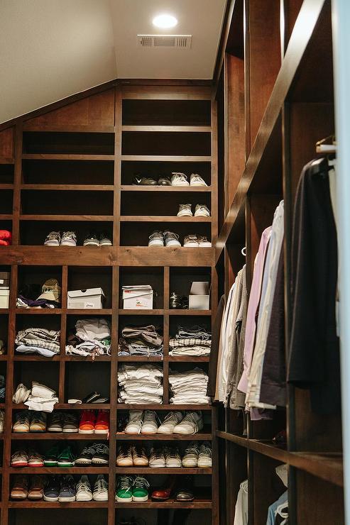 Masculine Walk In Closet Sloped Ceiling Floor To Shelvesjpg.