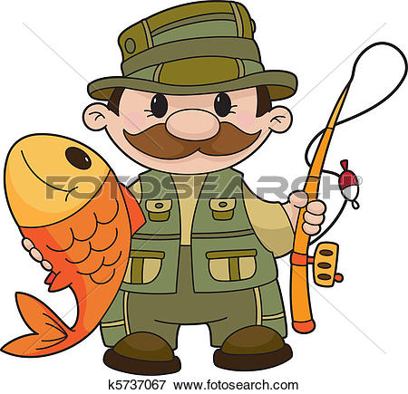 Clipart of Lake with cartoon fisherman 1 k6773075.
