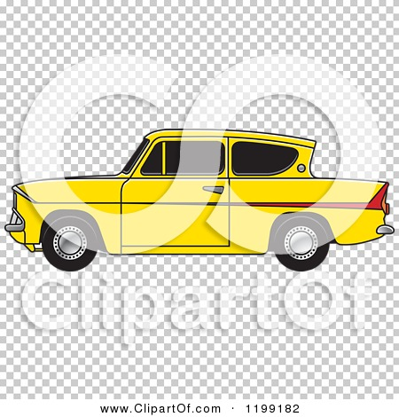 Clipart of a Vintage Yellow Ford Anglia Car with Tinted Windows.