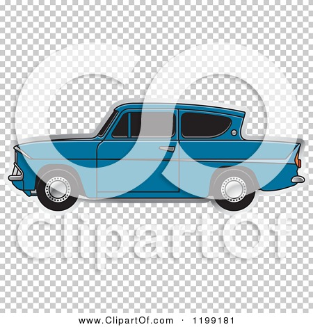 Clipart of a Vintage Blue Ford Anglia Car with Tinted Windows.