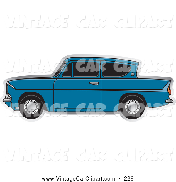 Clipart of a Old Vintage Blue Ford Anglia Car with Tinted Windows.