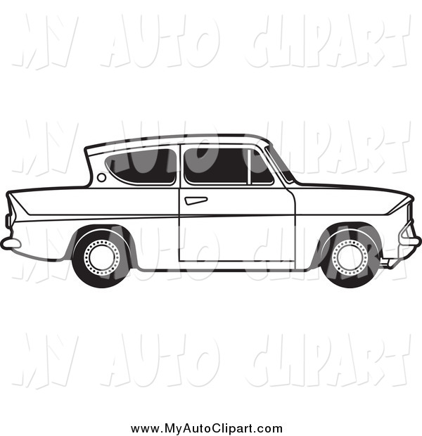 Clip Art of a Black and White Ford Anglia Car by Lal Perera.