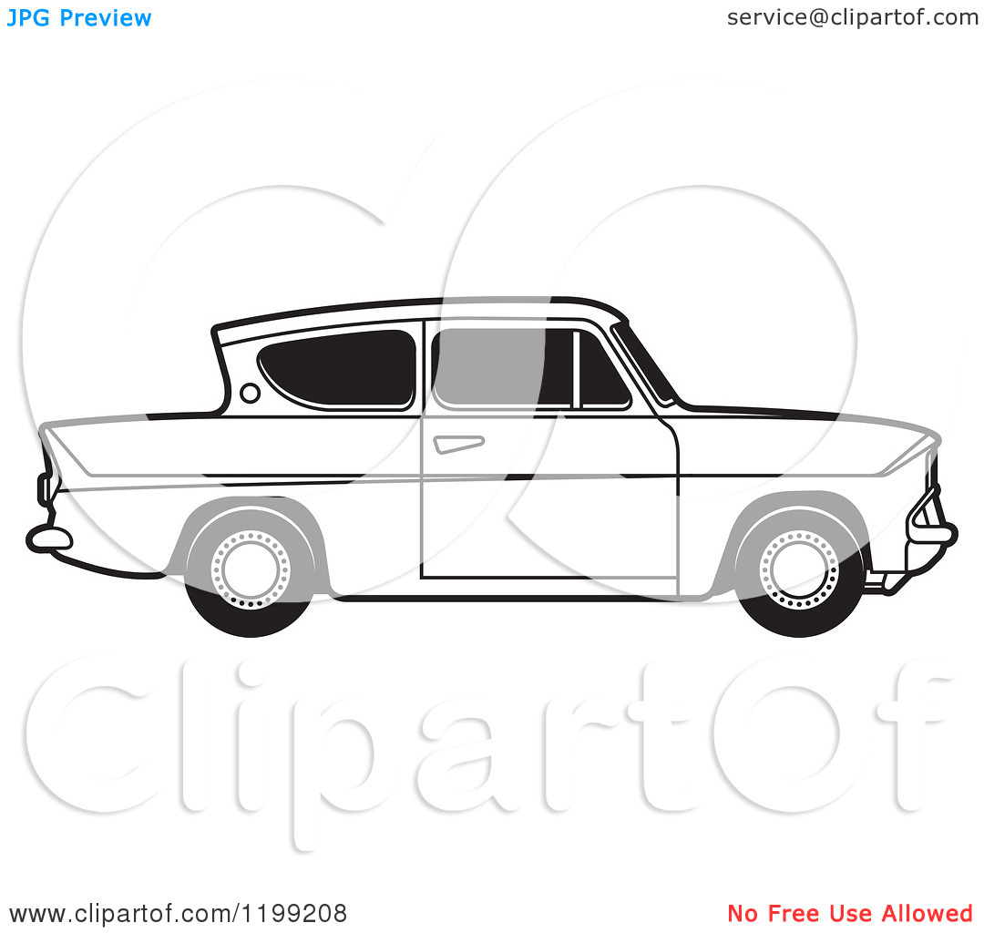 Clipart of a Vintage Black and White Ford Anglia Car with Tinted.