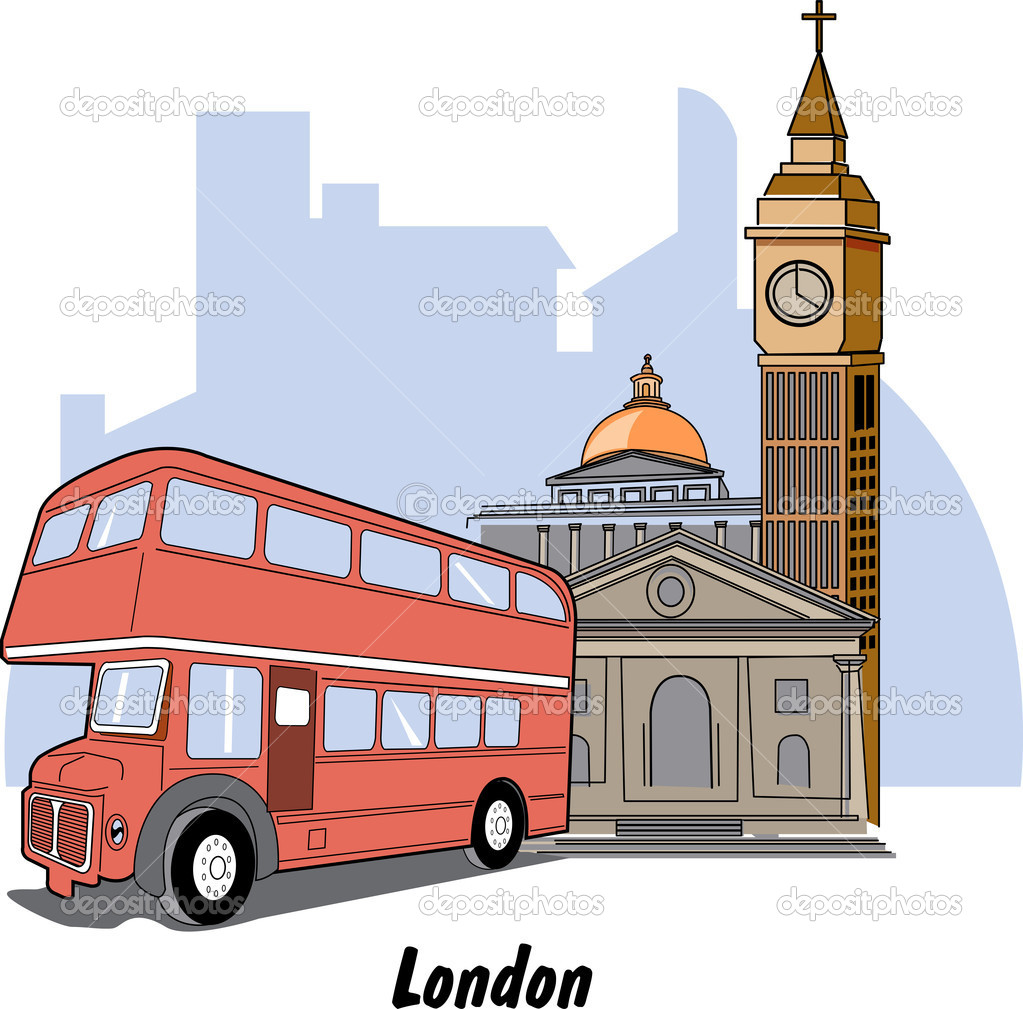 London England Double Decker And Street Scene — Stock Vector.