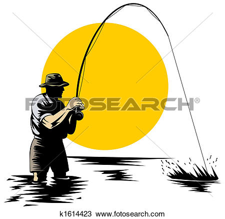 Clipart of Fly fishing k1614421.