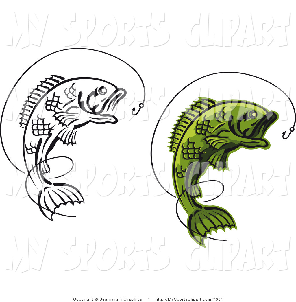 Sports Clip Art of a Leaping Fish and Hooks by Vector Tradition SM.