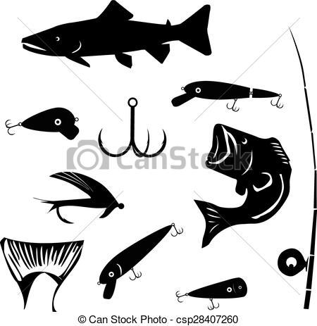 Clip Art Vector of vector set fishing and angling symbols.
