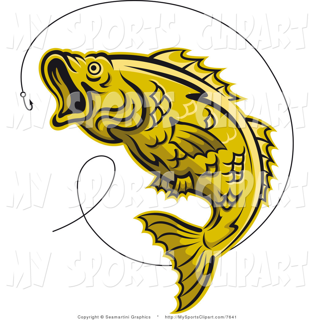 Sports Clip Art of a Yellow Trout and Hook by Vector Tradition SM.