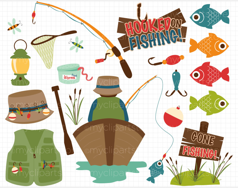 Fishing gear clipart.