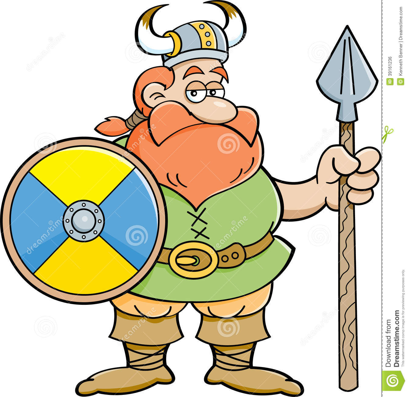 Cartoon Viking Holding A Shield And A Spear. Stock Vector.