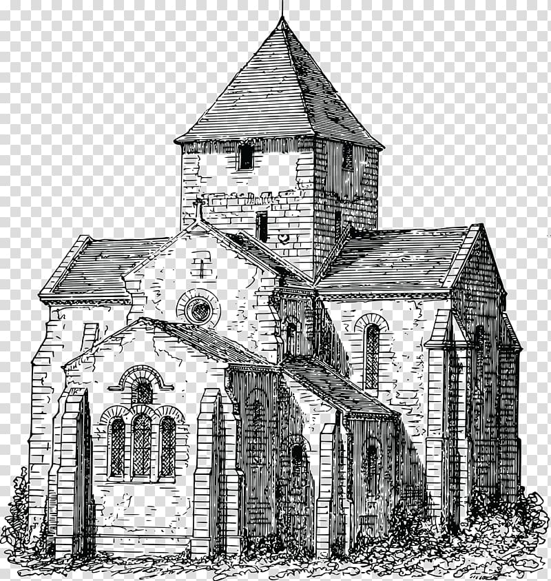 Coloring book Building Church, Church transparent background.