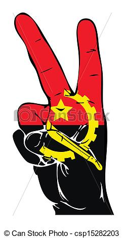 Vector Clipart of Peace Sign of the Angola flag csp15282203.