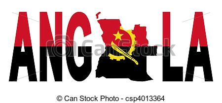 Drawing of Angola text with map on flag illustration csp4013364.