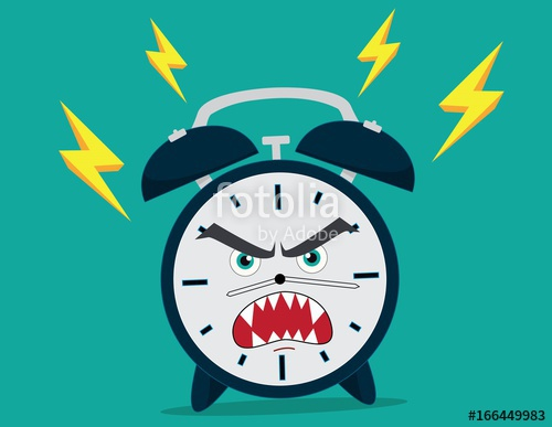 Alarm Clock Character Icon Angry Anger Illustration Flat.