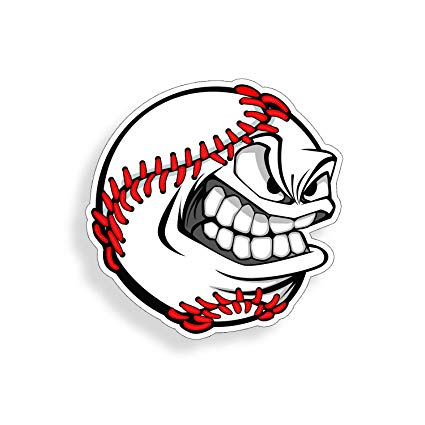 Amazon.com : Angry Baseball Face Sticker Die Cut Vehicle Car.