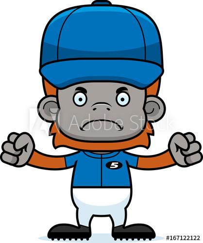 Cartoon Angry Baseball Player Orangutan.