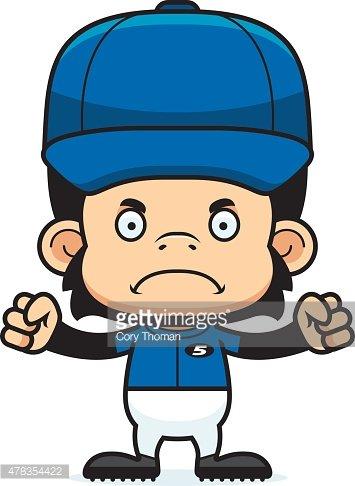 Cartoon Angry Baseball Player Chimpanzee stock vectors.