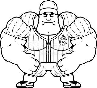 Angry Cartoon Baseball Player Clipart Image.