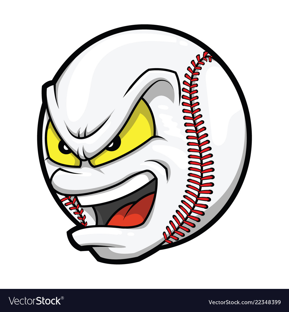 Cartoon baseball angry face.
