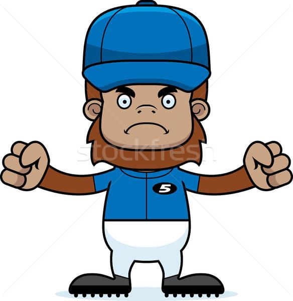 Cartoon Angry Baseball Player Sasquatch vector illustration.