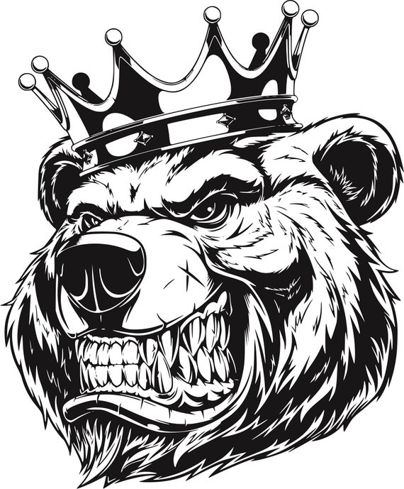 Angry Bear ClipArt. Vector Image. Fierce Grizzly Bear Head with Crown .  Svg, Cdr, Png, Eps. Silhouette. Instant download. Digital Clip Art..