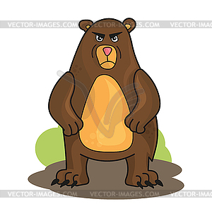 Cartoon angry bear.